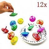 JZK 12 piezas juego peonzas trompos madera peonza trompo juguete para niños fiesta cumpleaños favores, fiesta rellenos bolsas, suministros fiesta decoraciones