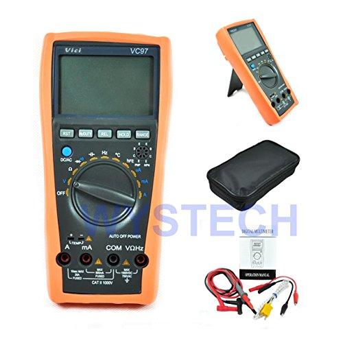 Wiysond VC97 Autorange Digital Multimeter Tester Spannungsprüfer Auto Range LCD mit Analog-Bar für DCV ACV ACA Widerstand Kapazität Frequenz Temperatur usw