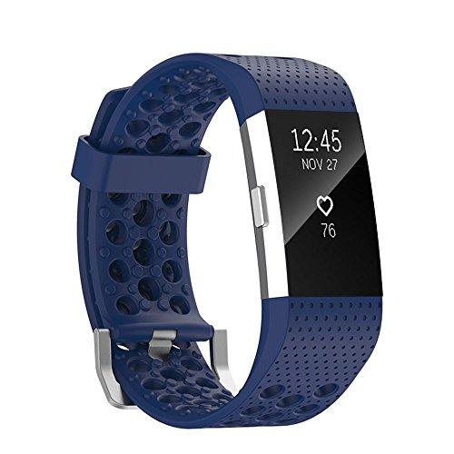 fit-power Ersatz Zubehör Armband Band Armband mit Metall Schnalle für Fitbit Laden 2Herzfrequenz Fitness Band (Tracker nicht inkl.), marineblau (Fit Band Herzfrequenz)