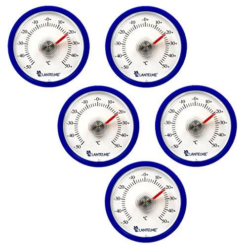 Lantelme 6299 Universal Thermometer 5 Stück Set - Mit Bimetall Federelement und Analoger Temperaturanzeige Kunststoff Farbe blau