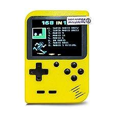InsideOut Mini Game Boy 8 Bit Schermo a Colori Classico | 168 Emblematic Games Retro Vintage Nostalgia 90 | Pronto a Giocare | Trend 2018 (Giallo)