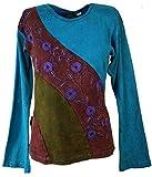 Guru-Shop Goa Langarmshirt Stonewash 6, Damen, Blau, Baumwolle, Size:S (36), Pullover, Longsleeves & Sweatshirts Alternative Bekleidung