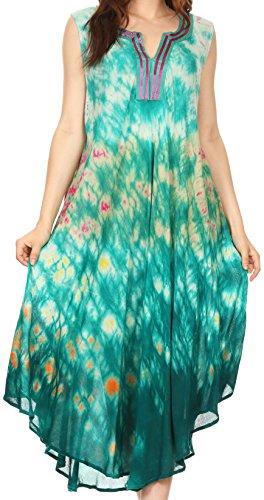 Sakkas 17708 - Kalia ärmellose Gezeitenfärbung Split Neck Dress / Cover Up - Fuchsia / Turq - OS (Tie-dye-gaze)
