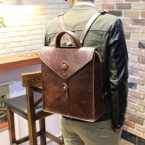 Tide hommes double enveloppes sac à bandoulière casual male business men's sac à main sac à dos sac à bandoulière Brown