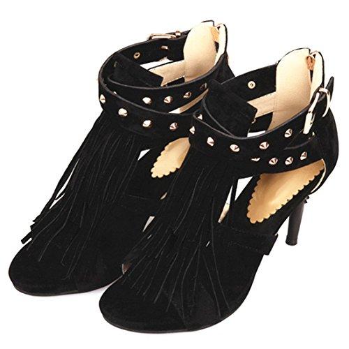 YE Damen High Heels Peep Toe Stiletto Sandalen mit Fransen Schnalle und Nieten Reißverschluss Schuhe Schwarz