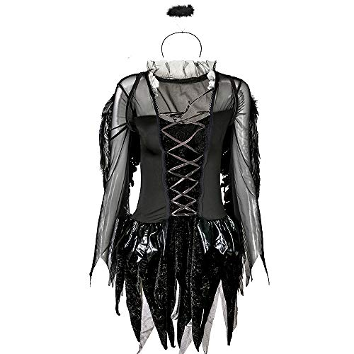 HUOFEIKE Halloween sexy Dark Angel Kostüm, Short Rock Wings Dark Festival Kostüm, Theme Party Dress, Damen Holiday Dress, Rollenspiele Stage Dress Up Dress Masquerade,XXL (Angel Dress Up Kostüm)