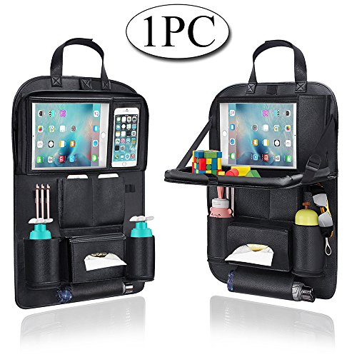 Auto Organizer, AresKo Auto Esstisch Rückenlehnenschutz mit Bildschirm Berührbar Tablet Halter Multi-Tasche für Auto ordentlich, 1 Stück -