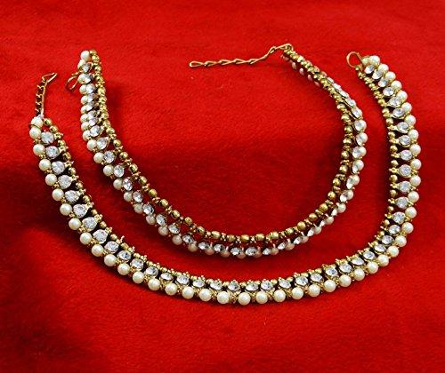 Banithanibelle cheville de pied indien cadeau traditionnel de bijoux bracelet pour les femmes or et blanc