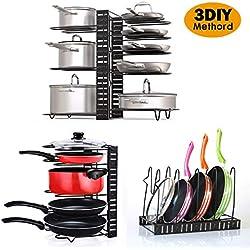 Porte-casseroles Détachable Support Acier 3 en 1 Organiseur de Poêle avec 8 Compartiments Réglables Rangement de Cuisine (Non Protection en Caoutchouc)