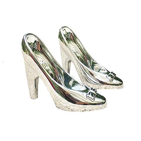 Bowknot Glas Slipper Gold Silber Überzogen Hochzeit Party Dekoration Braut Mädchen Geschenk Schuhe Fersen 80Store (Silber)
