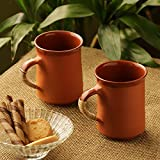 [Sponsored]ExclusiveLane 'Glazed In Romance' Handmade Studio Pottery Tea & Coffee Mugs In Terracotta & Cane (Set Of 2) -Tea Cups Set Of 6 Coffee Mugs Serving Pieces Ceramic Cups Tea Set Kulhad Cups Set Chai Cups Tableware Coffee Cup Set Cups For T