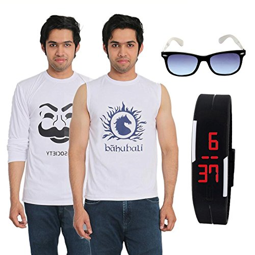 Fashion Bit 2 Multicolour Printed T-Shirts with a Wayfarer and a Digital Watch Combo Pack