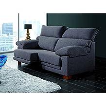 Sofá de tres plazas con asientos deslizantes y cabezales abatibles. Varios colores.