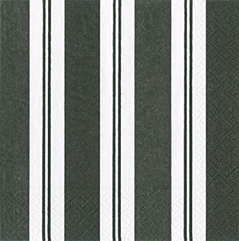 Caspari Awning Stripe Paper Luncheon Napkins, Pack of 20, Black/White