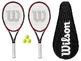 2 x Wilson Federer Pro 105 Raquetas de Tenis de Carbono + Bolas