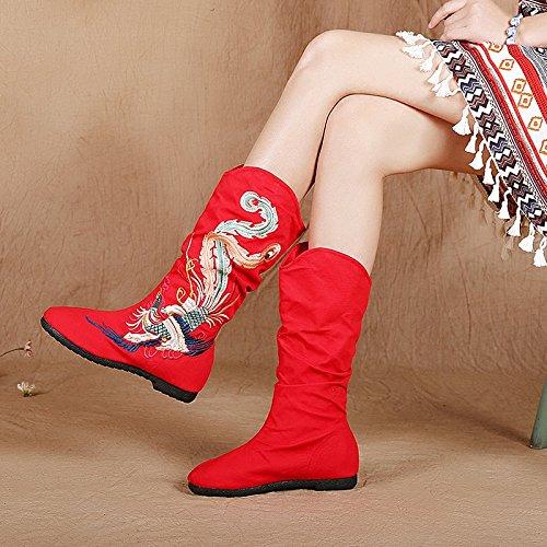 KHSKX-Vecchia Pechino Scarpe Stivali Appartamento Stivali Cotone In Autunno E Inverno Tempo Libero Scarpe Vintage In Stile Folk Scarpe 37 Gules Thirty-nine