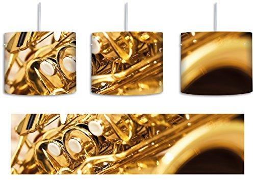 Saxophon inkl. Lampenfassung E27, Lampe mit Motivdruck, tolle Deckenlampe, Hängelampe, Pendelleuchte - Durchmesser 30cm - Dekoration mit Licht ideal für Wohnzimmer, Kinderzimmer, Schlafzimmer