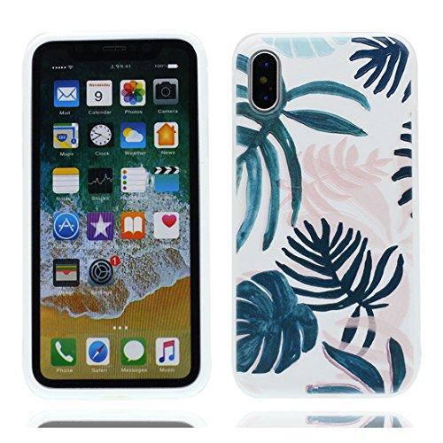 iPhone X Custodia, iPhone 10 Copertura Crystal Case gel trasparente [Slim-Fit] [Anti-Scratch] [assorbimento di scossa] [Supporta la ricarica wireless] iPhone X Copertura (Rosa fiore) # 8