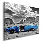 Feeby. Wandbild - 1 Teilig - 70x100 cm, Leinwand Bild Leinwandbilder Bilder Wandbilder Kunstdruck, AUTO, CADILLAC, MOTORISIERUNG, BLAU