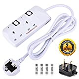 Plug Extension Leads Surge Protected Switches Power Strip 2 Gang 2M Cord White