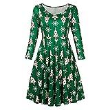 Navidad de BaZhaHei, Vestido navideño con Estampado de Disfraces de Santa de Navidad Vintage para Mujer Camisetas Suelto con Vuelo Suelto del Blusa de Manga Larga con Estampado navideño para Mujer