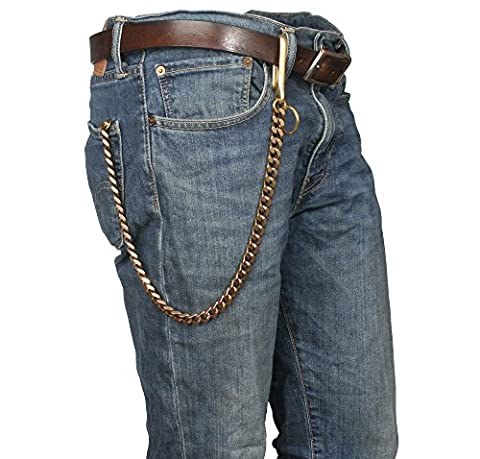 Ruth&Boaz Solid Brass Square Chain Biker Trucker Keychain Key Jean Wallet Chain (U Hook)
