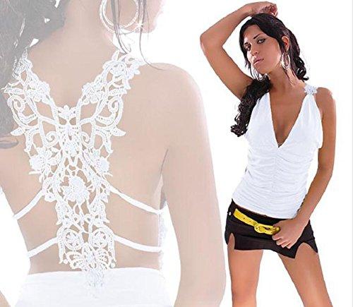 Ukamshop Spitze Sexy rückenfrei Spaghetti Bügel Vest Tops bluse weiß