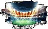 DesFoli Fussball Stadion Spielfeld 3D Look Wandtattoo 70 x 115 cm Wanddurchbruch Wandbild Sticker Aufkleber C413