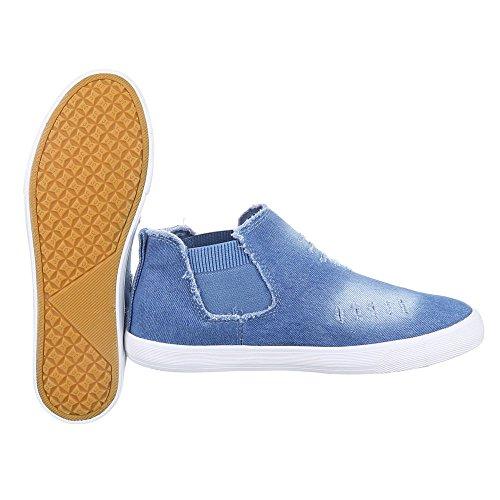 Low-Top Sneaker Damen Schuhe Low-Top Sneakers Ital-Design Freizeitschuhe Hellblau