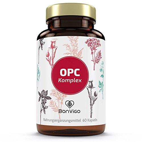 OPC AKTIV-KOMPLEX - Cranberry, Traubenkernextrakt und Pinie für grössere biologische Breite gegenüber Einfach-OPC - Plus Grüner Tee, Kakaobohne, Acerola - Selen für Schilddrüse und Immunsystem