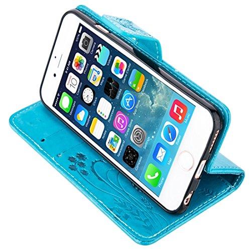 iPhone Case Cover Pour iPhone 5 & 5s & SE Crazy Horse Texture Impression horizontale Flip étui en cuir avec Holder & Card Slots & Wallet & Lanyard ( Color : White ) Blue