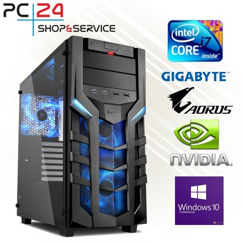 PC24 GAMING PC | INTEL i7-8700K @6x4,50GHz | 250GB M.2 970 EVO SSD | nVidia GF RTX 2070 mit 8GB RAM | 16GB DDR4 PC2666 RAM | Gigabyte Z390 Aorus Pro | 600Watt 80+ ATX Netzteil | Windows 10 Pro | i7 Gamer PC (Titan Black Gtx)
