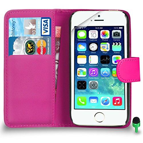 POUR Apple iPhone 5 / 5S - SHUKAN® Prime Cuir NOIR Portefeuille Cas Coque Couverture VERT Cap Protecteur d'écran & Tissu de polissage ROSE
