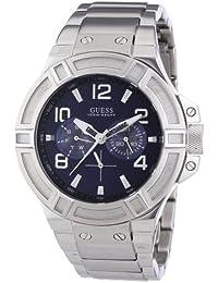 Guess W0218G2 - Reloj analógico de cuarzo para hombre, correa de acero inoxidable color plateado
