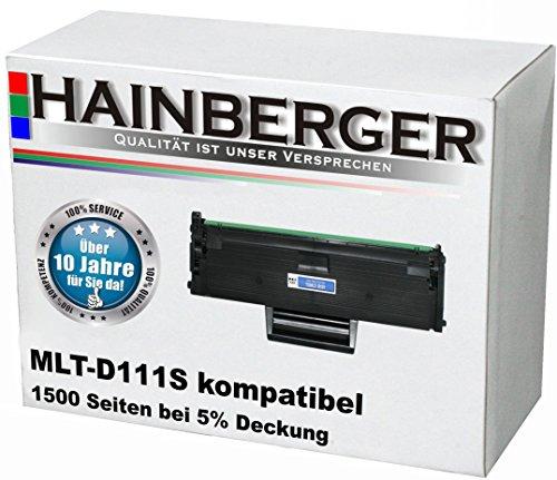 Hainberger XXL Toner MLT-D111S schwarz, 1500 Seiten (+50%!) bei 5% Deckung, kompatibel für Samsung MLT-D111S/ELS für Samsung Xpress M 2000 Series, M 2020, M 2020 W, M 2021, M 2021 W, M 2022, M 2022 W, M 2070, M 2070 F, M 2070 FW, M 2070 W, M 2071 FH, M 2071 FW, M 2071 HW, M 2071 W (2022 Drucker)
