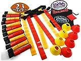 Matty 's Spielzeug Stop Deluxe 14-Man Flagge Fußball Set mit 7gelb Gürtel, 7rot Gürtel, 4gelb Zapfen, 4Rot Zapfen, 1Rot Sitzsack Flagge und Speicherung Tasche