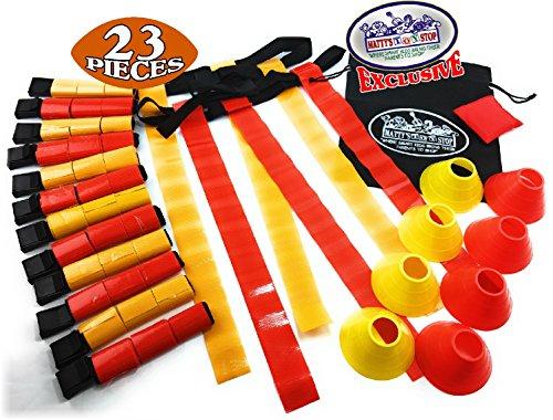 Matty's Toy Stop Matty 's Spielzeug Stop Deluxe 14-Man Flagge Fußball Set mit 7Gelb Gürtel, 7Rot Gürtel, 4Gelb Zapfen, 4Rot Zapfen, 1Rot Sitzsack Flagge und Speicherung Tasche (Flag Football Set)