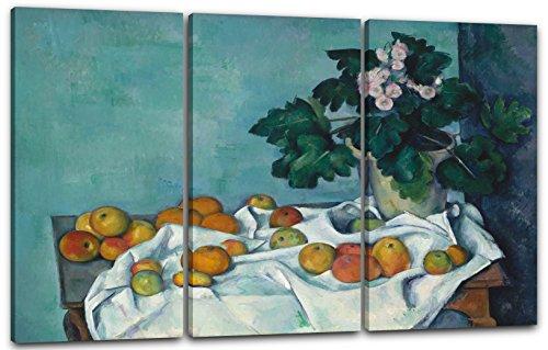 Paul Cézanne - Stillleben mit Äpfeln und einem Topf Primeln (ca. 1890), 120 x 80 cm (Dreiteiler, 3 x 40x80cm) (weitere Größen verfügbar), Leinwand auf Keilrahmen gespannt und fertig zum Aufhängen, hochwertiger Kunstdruck aus deutscher Produktion (Mit Stillleben Cezanne Äpfeln)