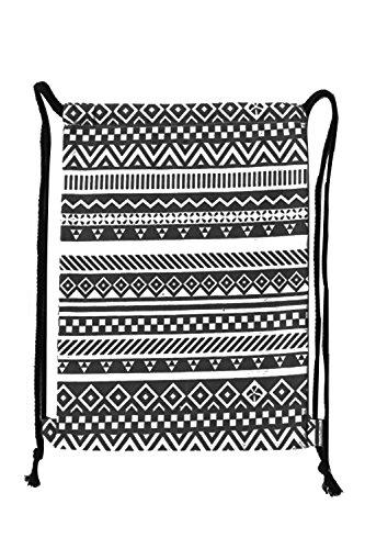 Vococal® Damen Tragbare Faltbare Vintage Canvas Verstellbarer Kordelzug Henkeltaschen Geringes Gewicht Tunnelzug Rucksäcke Rucksackhandtaschen, Geometrische Muster #1