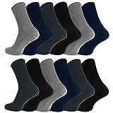 12 Paar Socken ohne Gummidruck 100% Baumwolle Gesundheitssocken Damen & Herren (43-46, Schwarz/Blau/Grau)