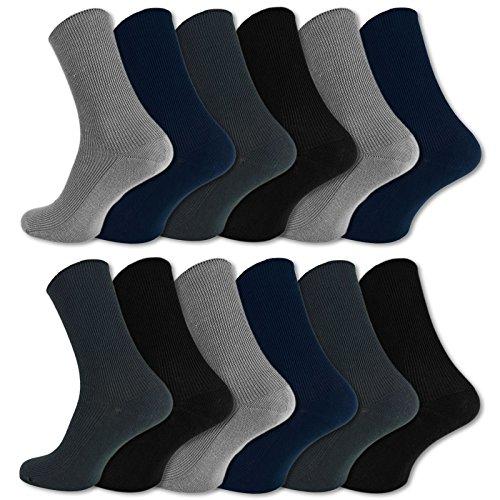 Gummidruck 100% Baumwolle Gesundheitssocken Damen & Herren (47-50, Schwarz/Blau/Grau) ()