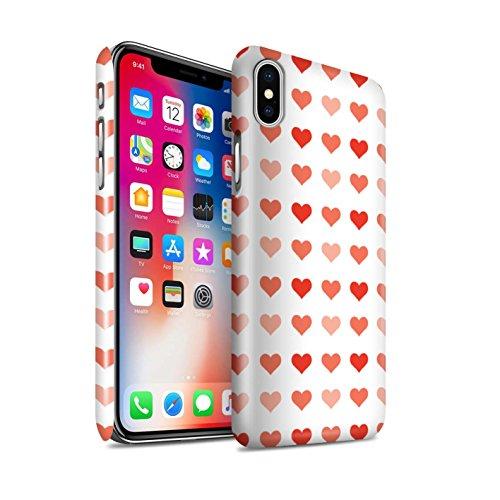 STUFF4 Glanz Snap-On Hülle / Case für Apple iPhone X/10 / Pack 5pcs / Herz Liebe Schablone Kollektion Rot