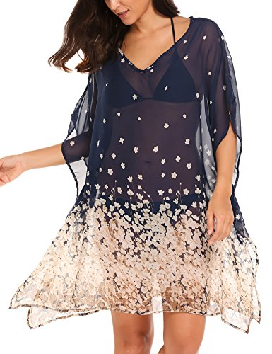 Zeagoo Damen Strandtunika Poncho Bikini Kleid Chiffon Sommerkleid Beachwear Blumen Druck Cover-Up One-Size (One-Size, Blumen 2) (Damen Blumen-tunika)