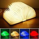 Yuanj Livre Lampe Pliante,LED Lampe de Livre en Bois avec 4 Couleurs,Lumière Magnétique Rechargeable par USB,Lampe de Chevet/Bureau/Table/Lecture-Batterie 2500 mAh