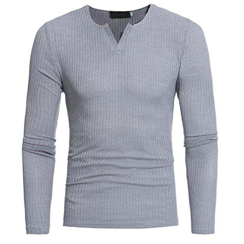 V-neck Vintage Pullover (Übergang Langarmshirts Huihong Herren Herbst Winter Pullover Lässige O-Neck Bluse Herren Slim Tops mit Stehkragen Pullover Oversize Vintage Pullover Hoodie Sweatshirt (V-Ausschnitt Grau, M))