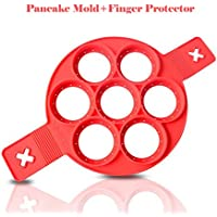 Pancake Molds Silicone Baking Mould Egg Maker Pancake Flipper Egg Ring Nonstick Silicone Round Egg Rings 7 Circles