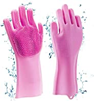 GadgetBite Dishwashing Gloves Food Grade Magic Rubber Silicone Scrubbing Gloves, Cleaning Gloves With Scrubber