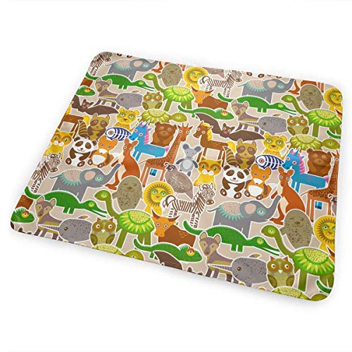 Kotdeqay Cartoon Animals Pattern Toddler Baby Girls Changing Table, Soft Changing Table & Mat for Baby Boys Girls -