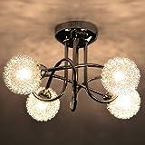 Deckenleuchte Asta Kugeldesign Glaskugel mit Alu Drahtgeflecht 4 flammig G9 Deckenlampe
