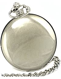 HUNTER FOB/POCKET WATCH-Chrome Lid/Chain/Clip-Gift Boxed-SILVER
